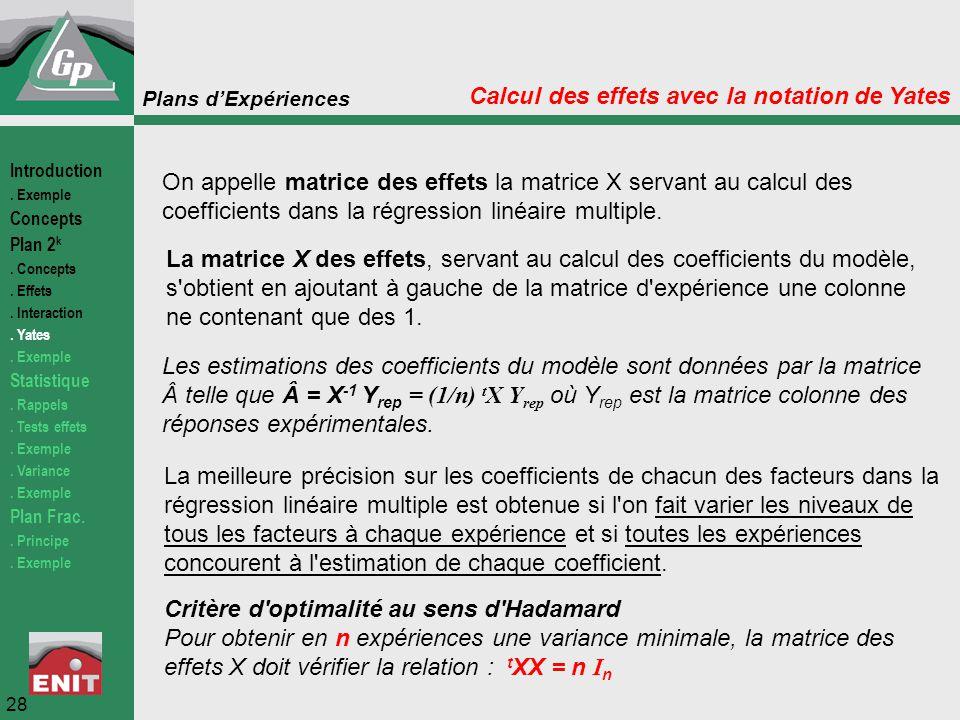 Calcul des effets avec la notation de Yates