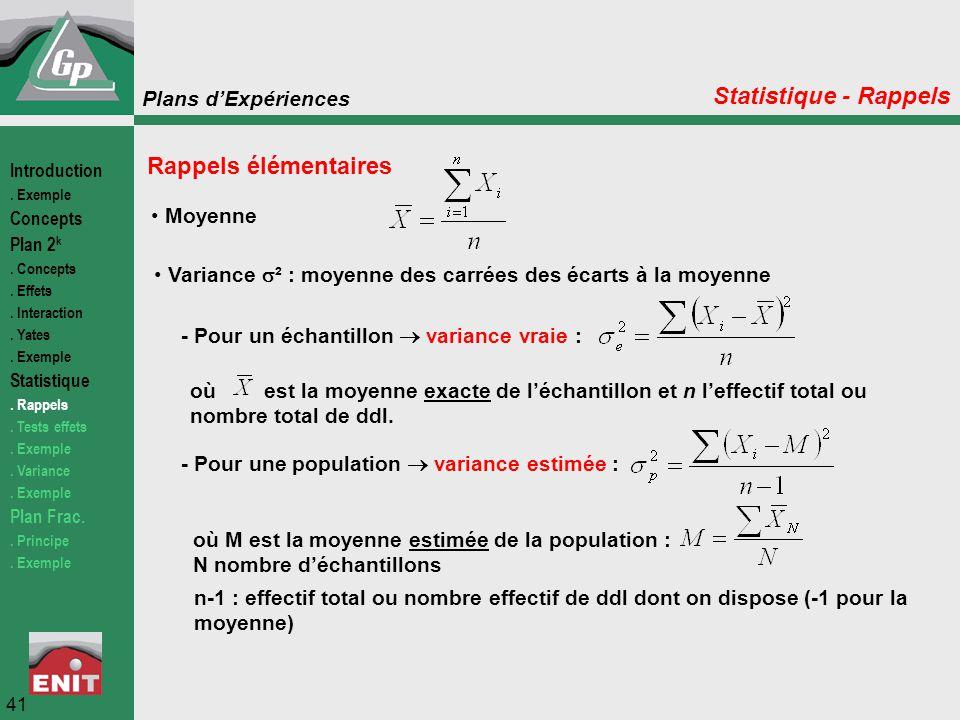 Statistique - Rappels Rappels élémentaires Moyenne