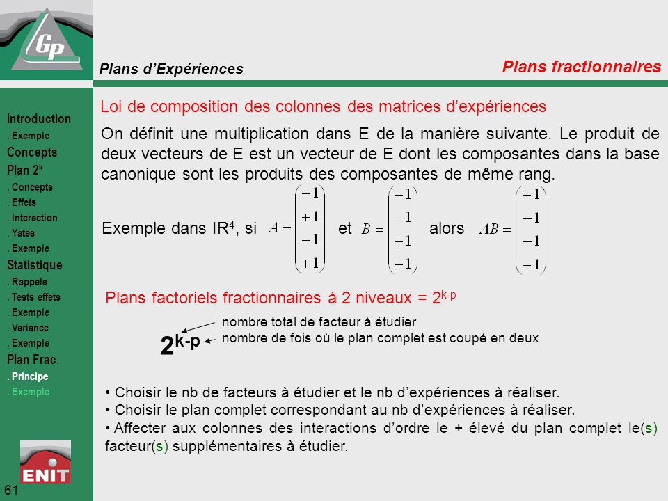 2k-p Plans fractionnaires