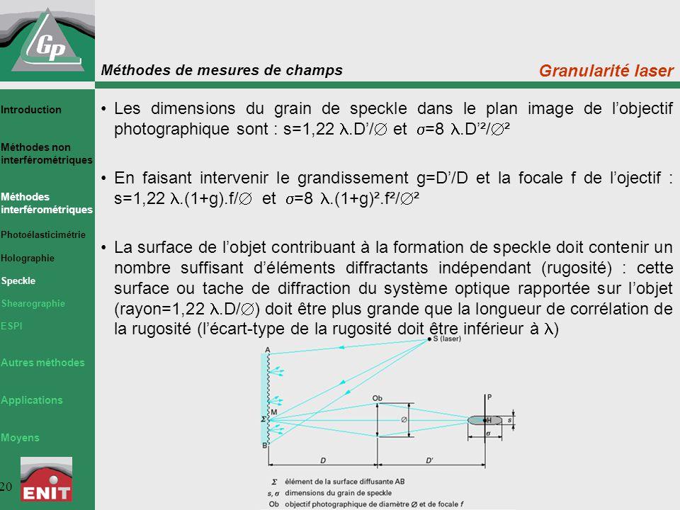 Granularité laser Les dimensions du grain de speckle dans le plan image de l'objectif photographique sont : s=1,22 l.D'/ et s=8 l.D'²/².