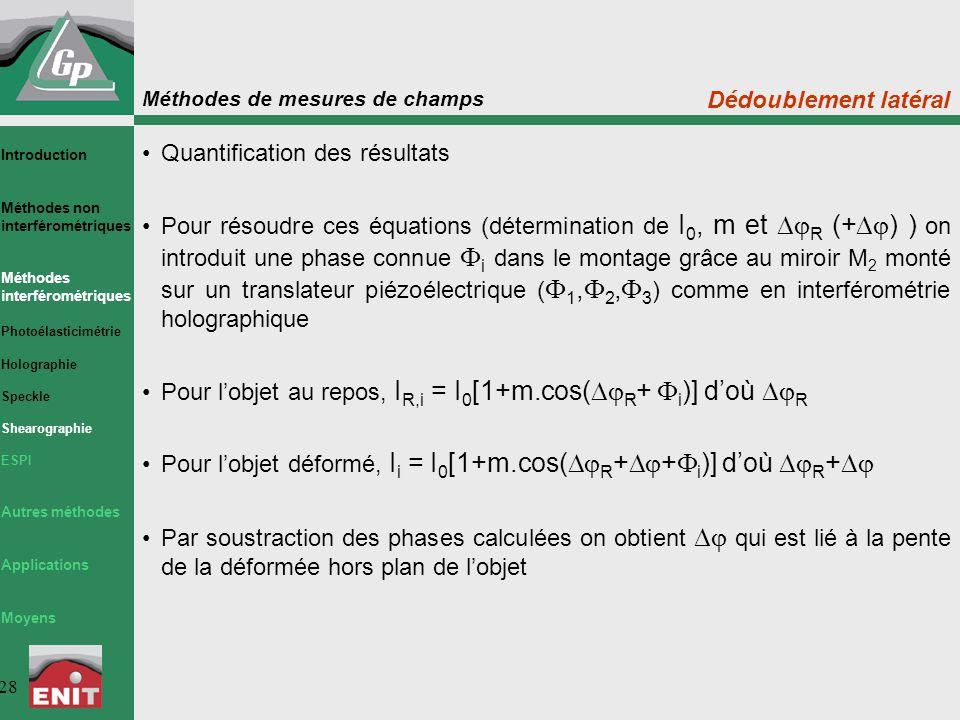 Quantification des résultats