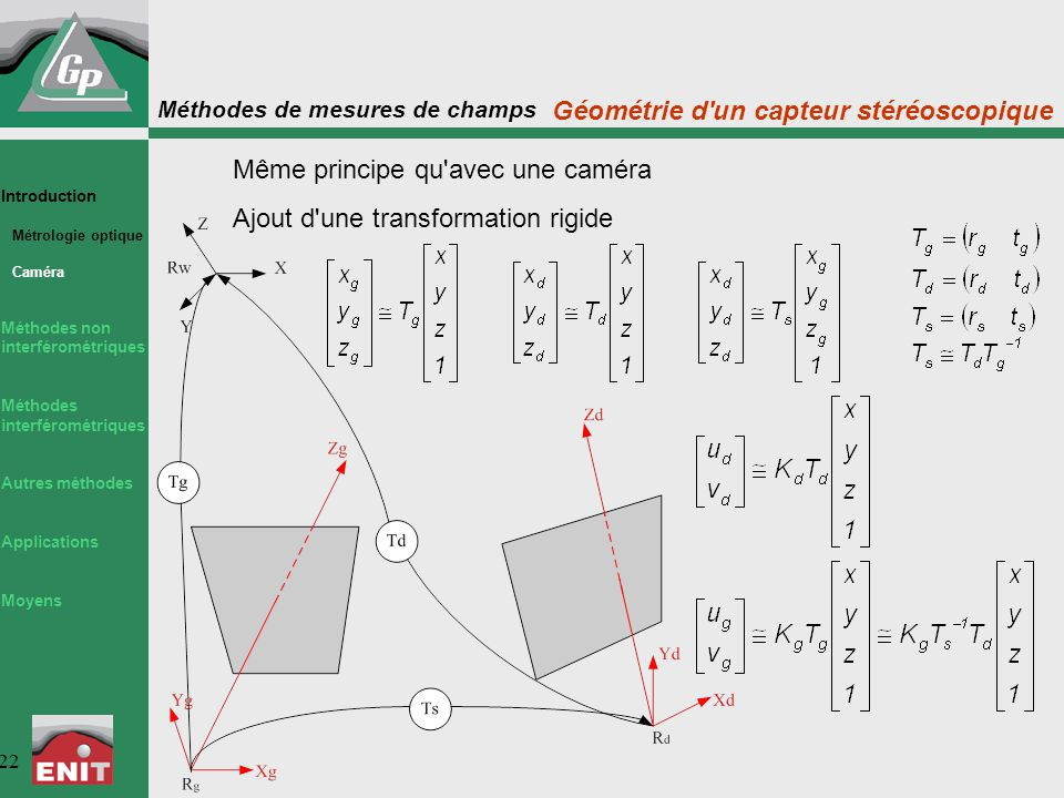 Géométrie d un capteur stéréoscopique