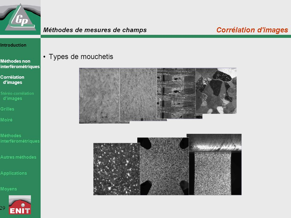 Corrélation d images Types de mouchetis Introduction Méthodes non