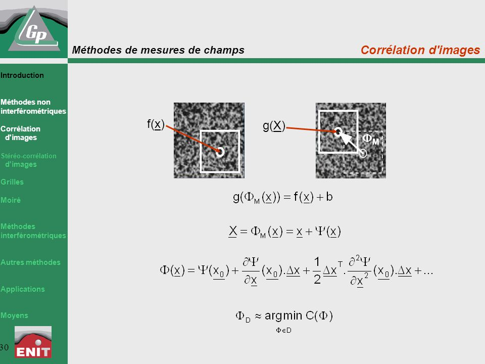 Corrélation d images f(x) g(X) M Introduction Méthodes non