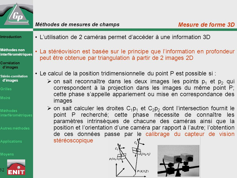 L'utilisation de 2 caméras permet d'accéder à une information 3D