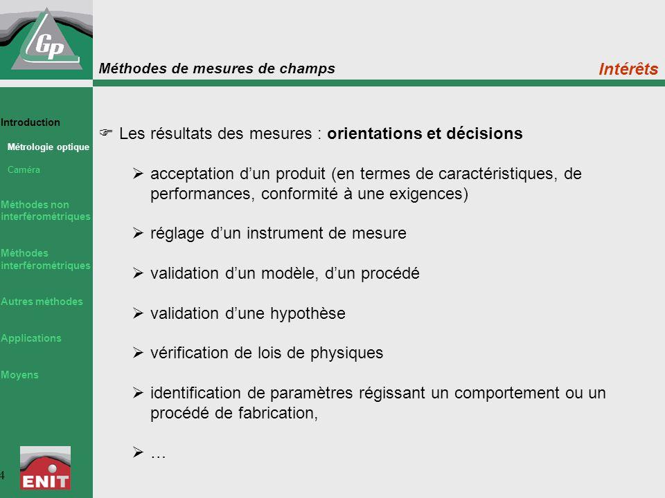 Les résultats des mesures : orientations et décisions