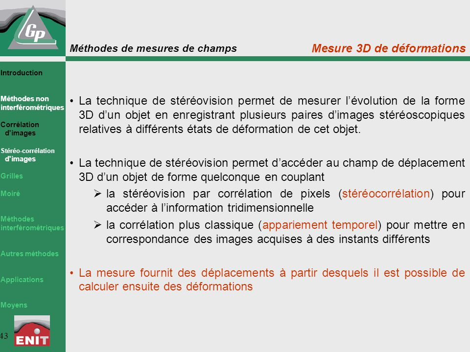Mesure 3D de déformations