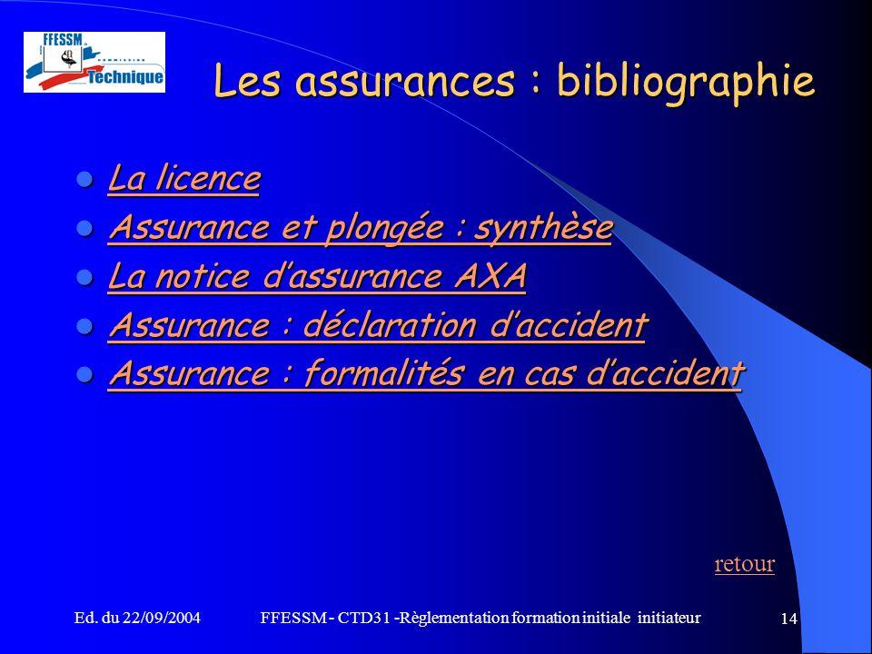 Les assurances : bibliographie