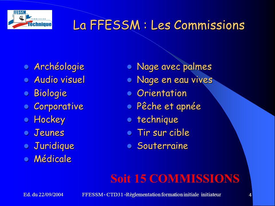 La FFESSM : Les Commissions