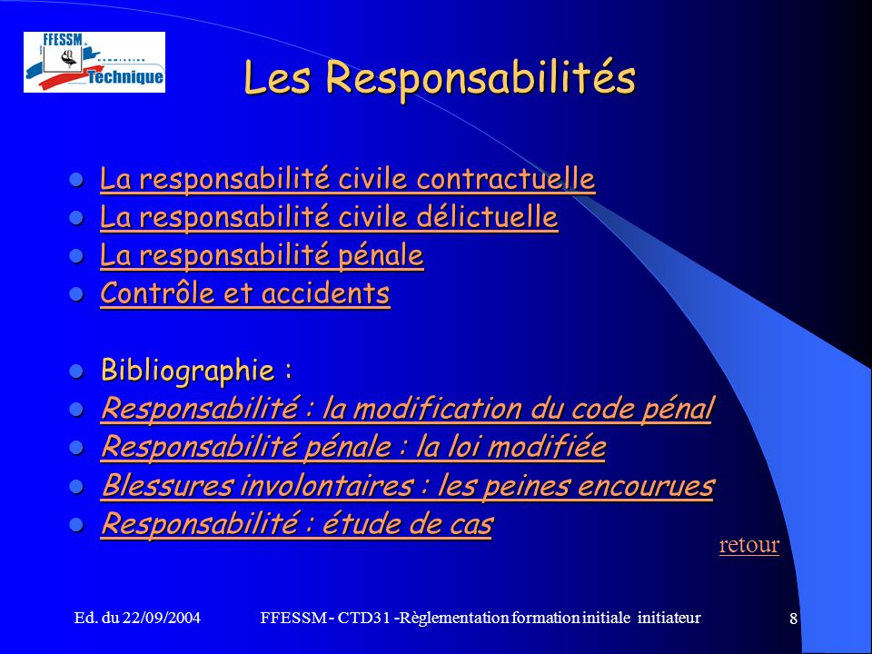 Ffessm ctd31 r glementation formation initiale - Coups et blessures volontaires code penal ...