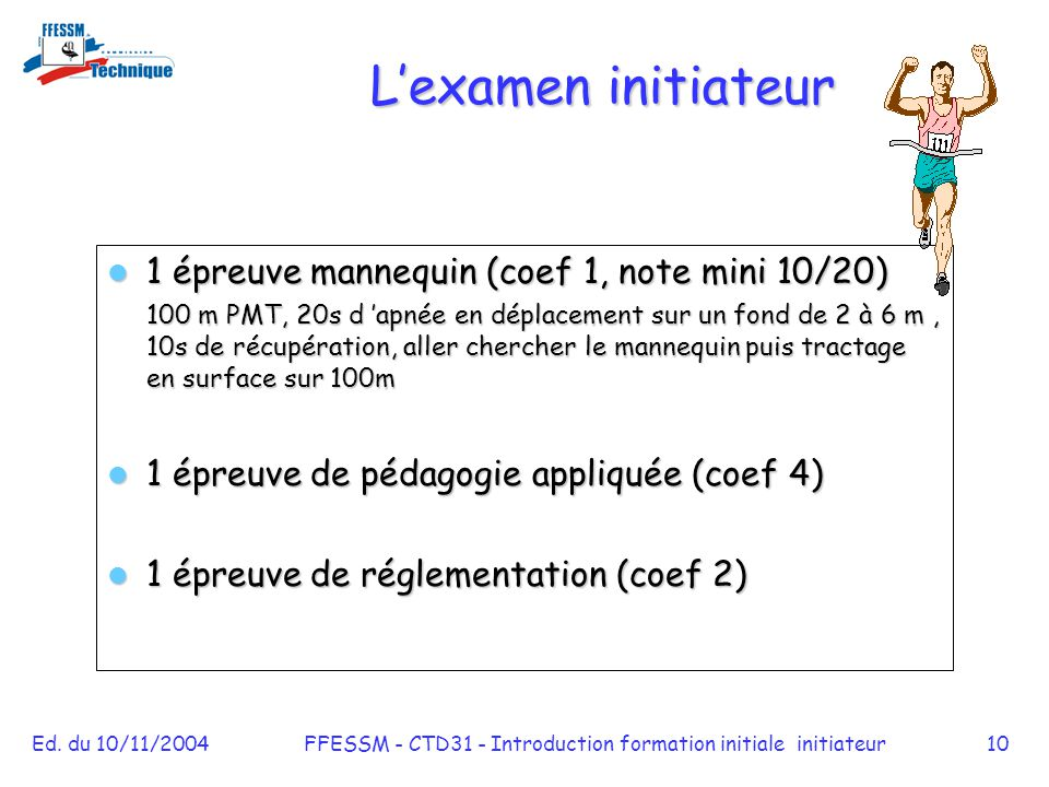 FFESSM - CTD31 - Introduction formation initiale initiateur