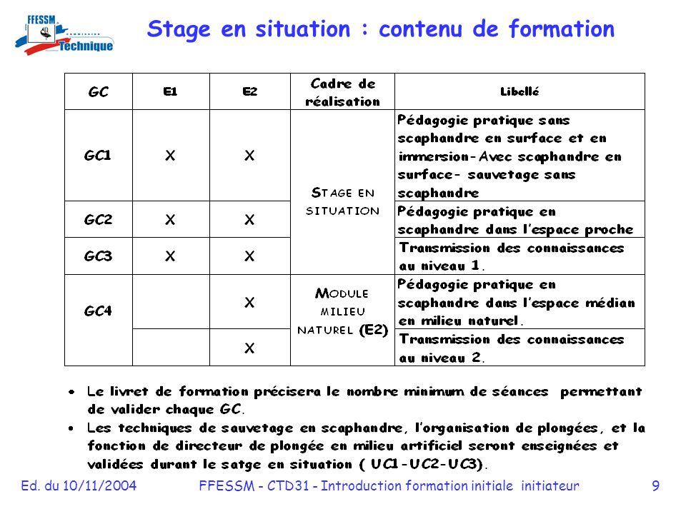 Stage en situation : contenu de formation