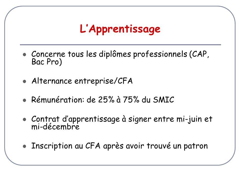 L'Apprentissage Concerne tous les diplômes professionnels (CAP, Bac Pro) Alternance entreprise/CFA.