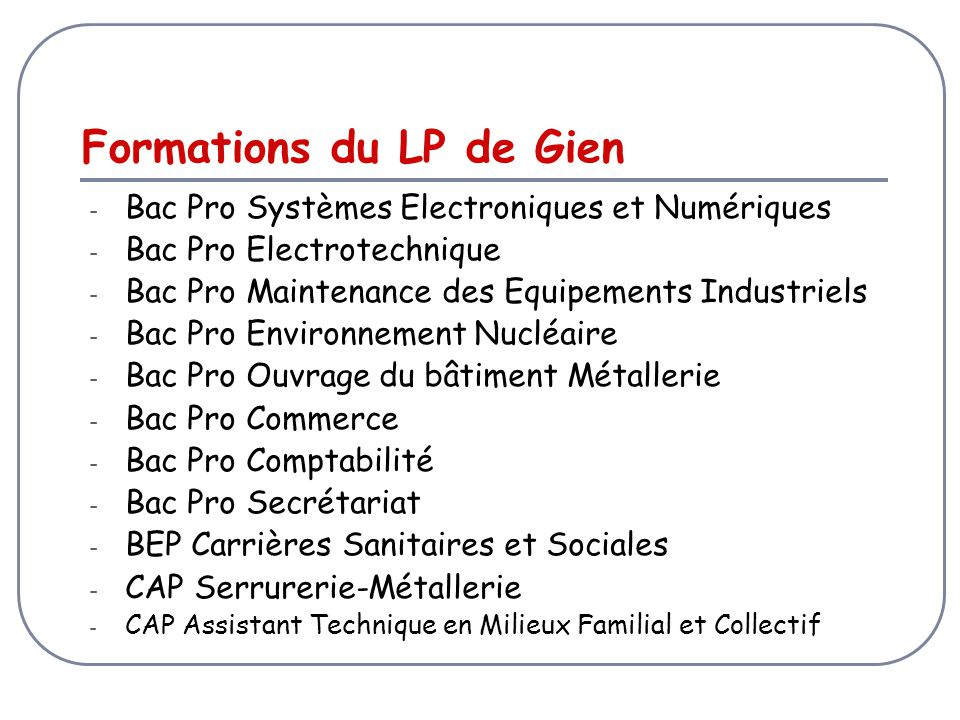 Formations du LP de Gien