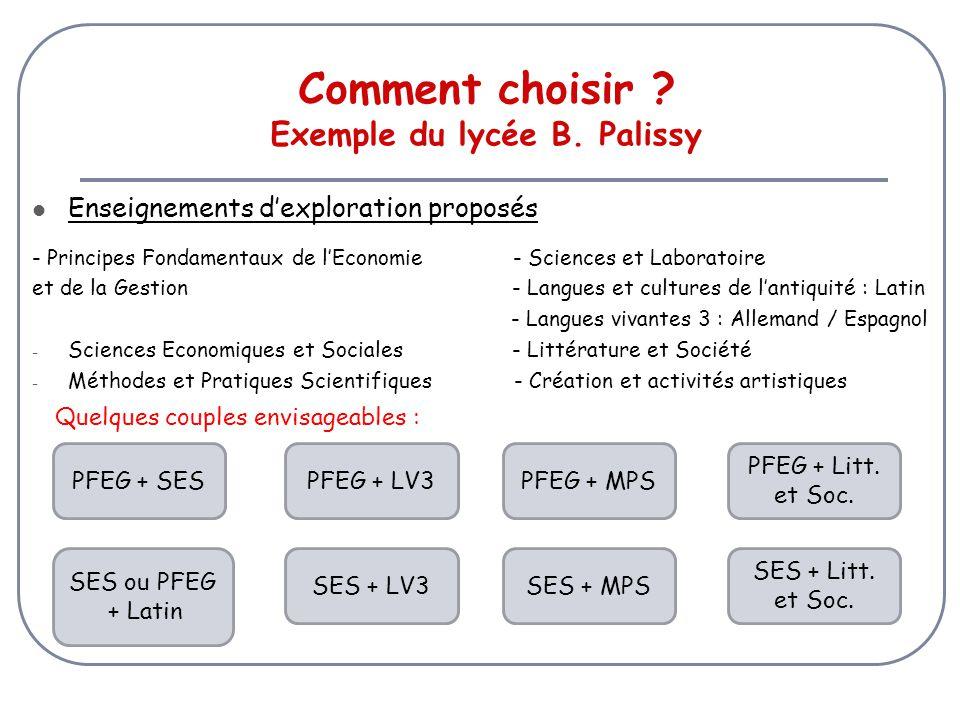 Comment choisir Exemple du lycée B. Palissy