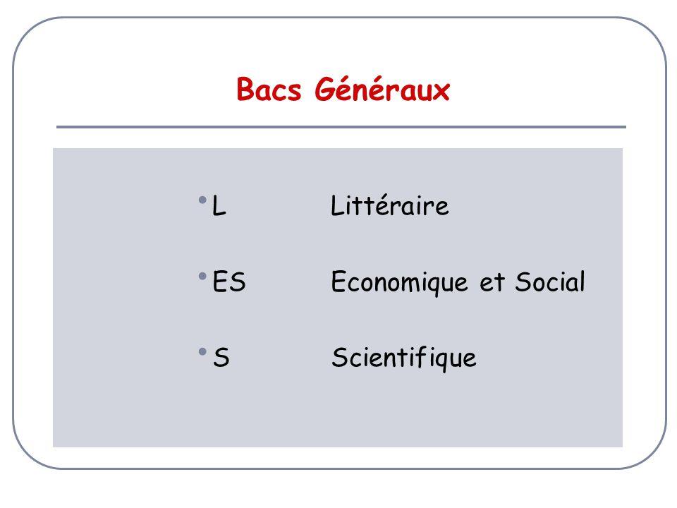 Bacs Généraux L Littéraire ES Economique et Social S Scientifique