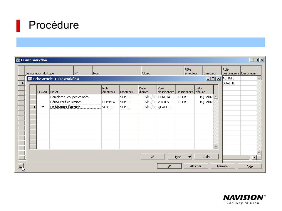 Une procédure permet de définir un enchaînement d'opérations