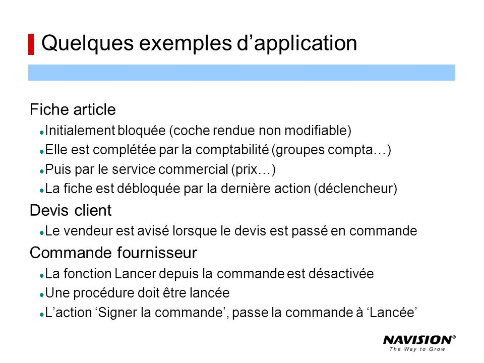 Quelques exemples d'application
