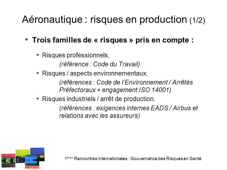 Aéronautique : risques en production (1/2)