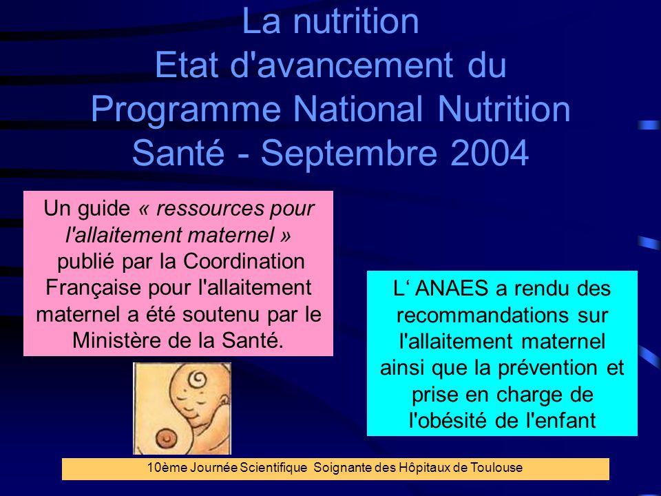 La nutrition Etat d avancement du Programme National Nutrition Santé - Septembre 2004
