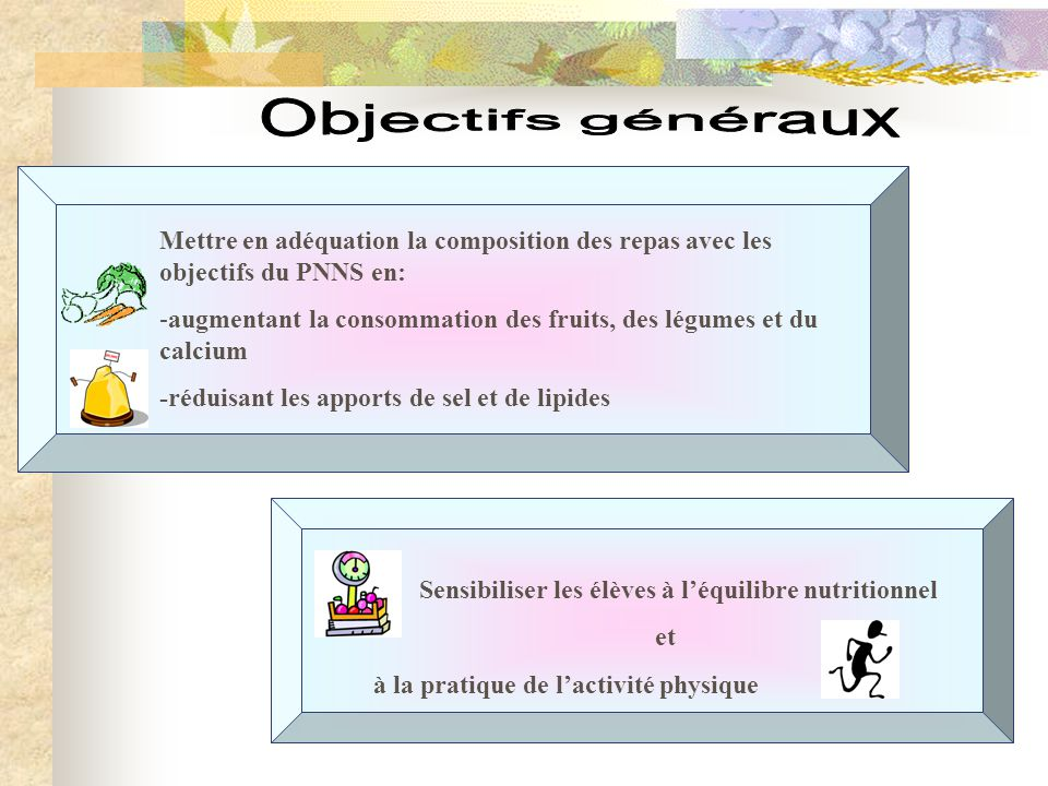 Objectifs généraux Mettre en adéquation la composition des repas avec les objectifs du PNNS en: