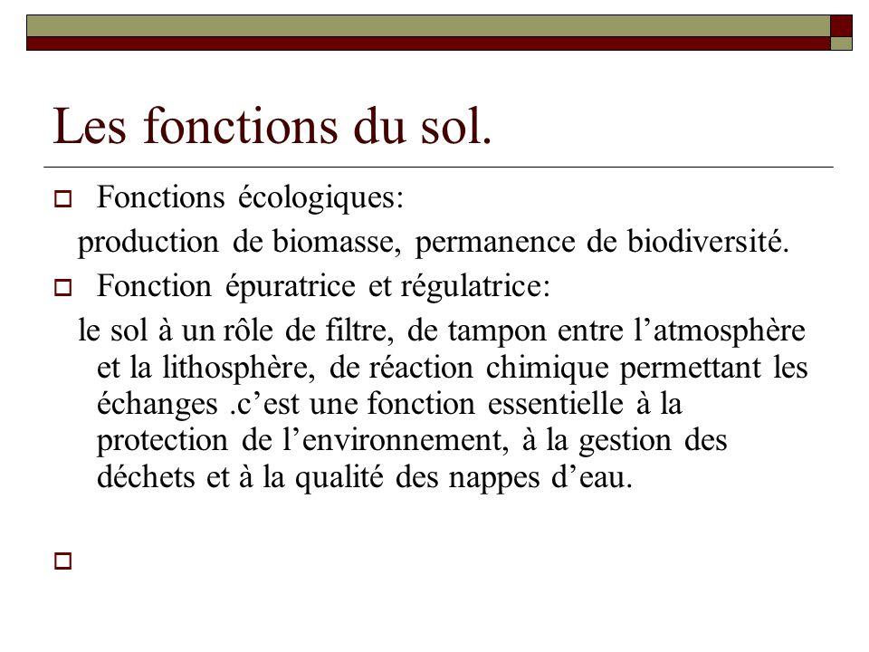 Les fonctions du sol. Fonctions écologiques: