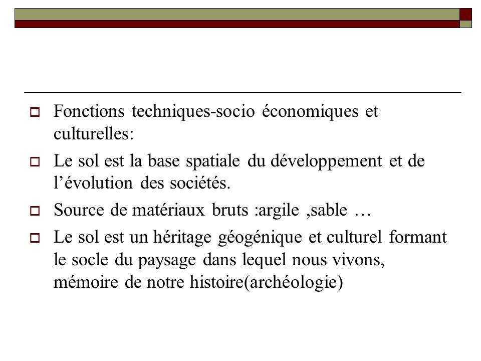 Fonctions techniques-socio économiques et culturelles: