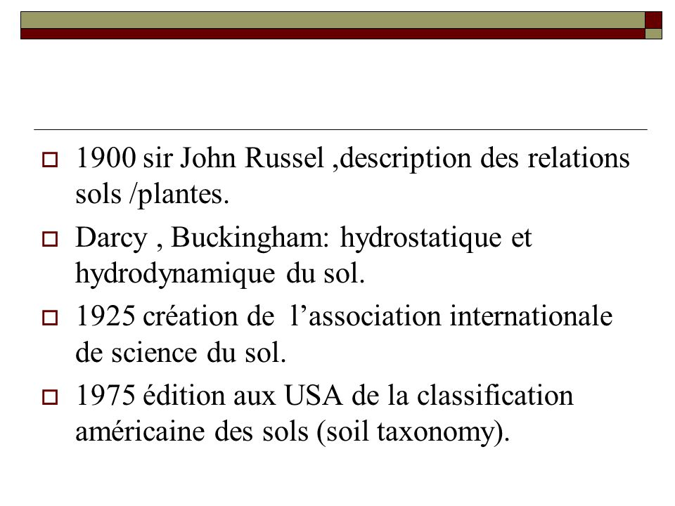 1900 sir John Russel ,description des relations sols /plantes.