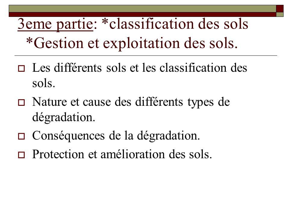 3eme partie: *classification des sols *Gestion et exploitation des sols.
