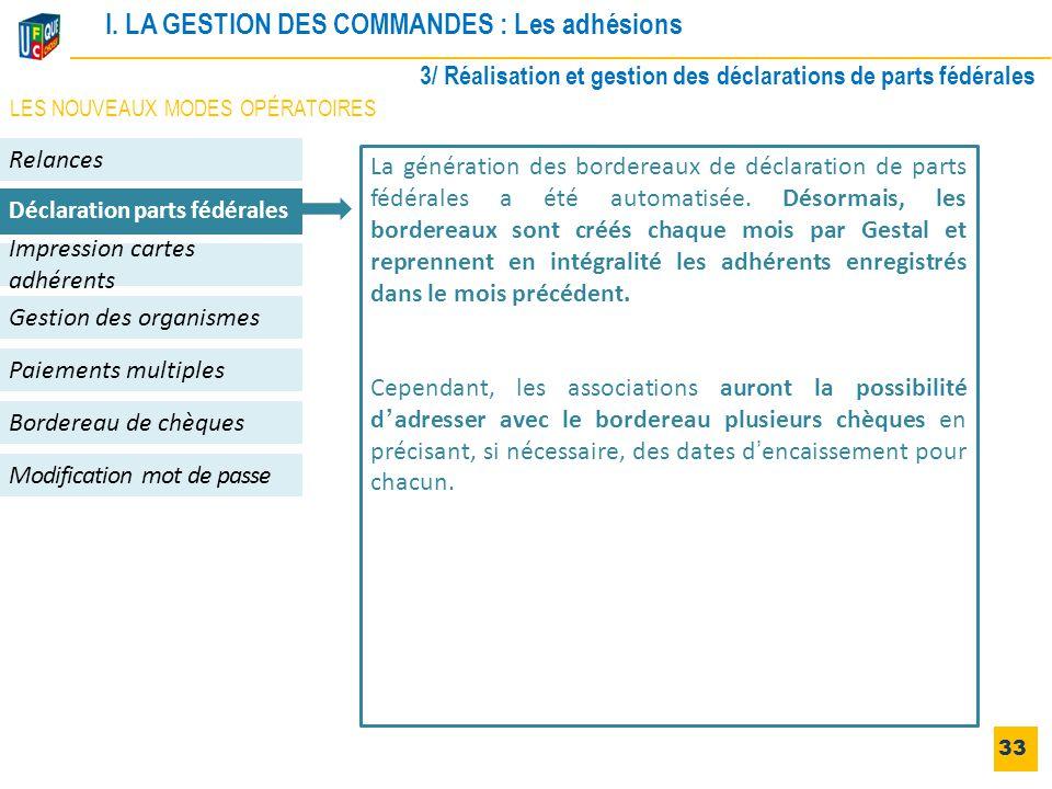 I. LA GESTION DES COMMANDES : Les adhésions