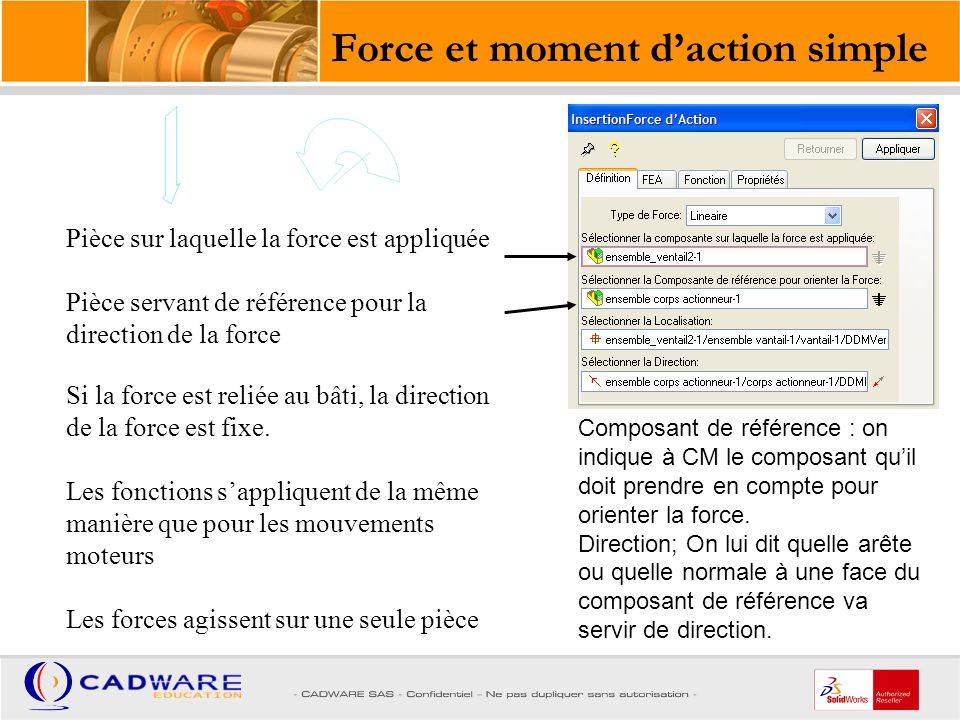 Force et moment d'action simple