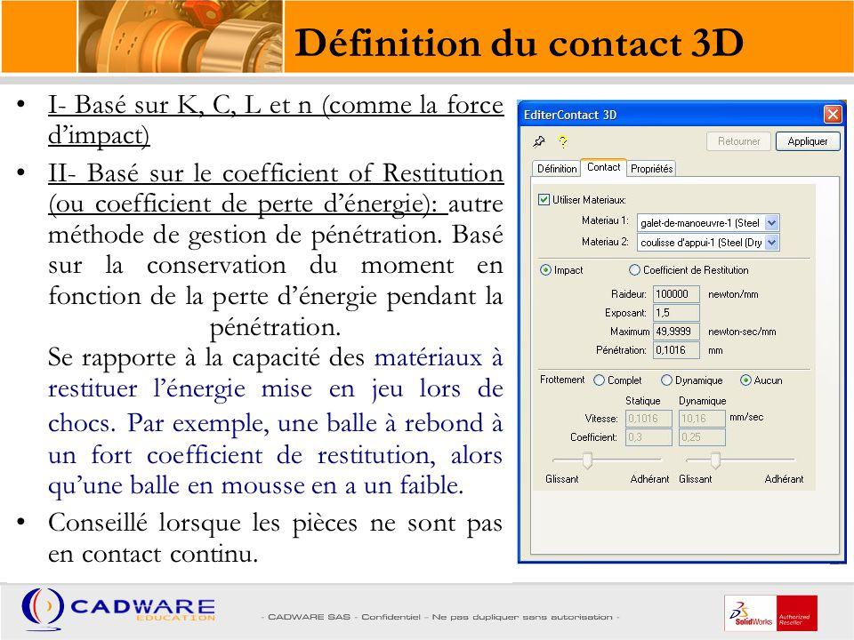 Définition du contact 3D