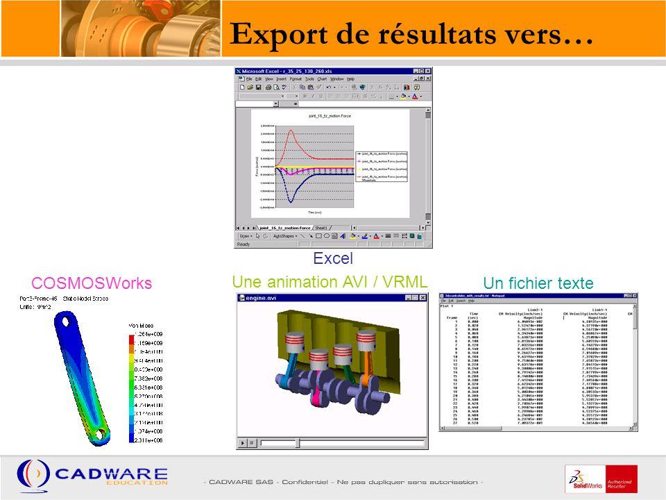 Export de résultats vers…