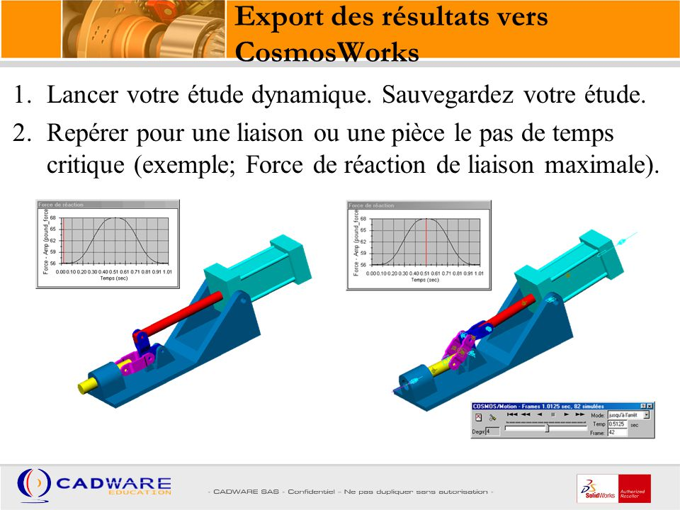 Export des résultats vers CosmosWorks