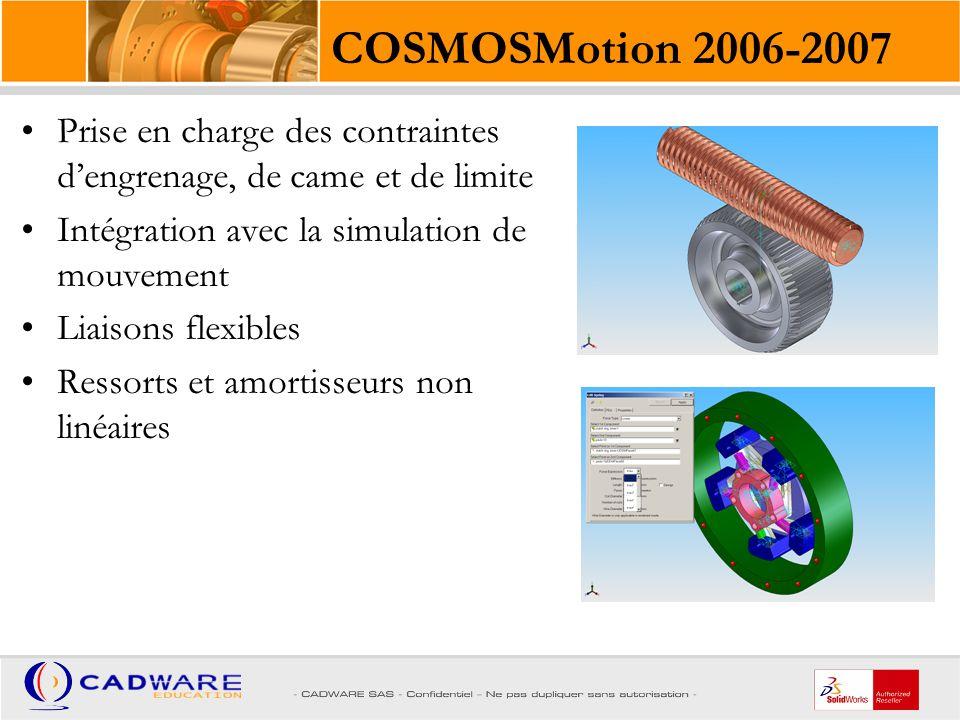 COSMOSMotion 2006-2007 Prise en charge des contraintes d'engrenage, de came et de limite. Intégration avec la simulation de mouvement.