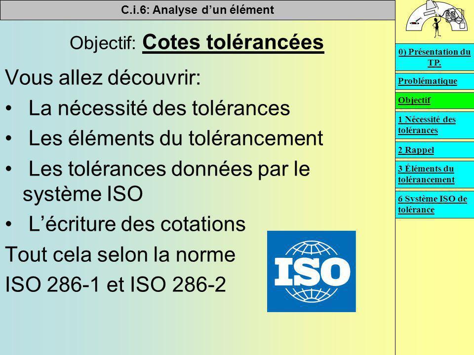 Objectif: Cotes tolérancées