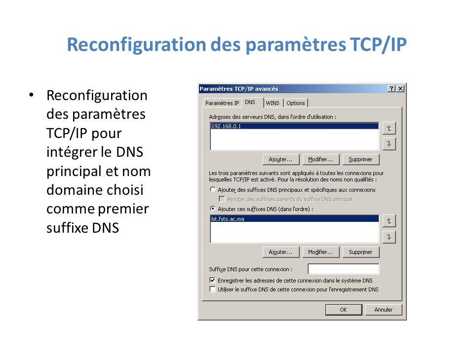 Reconfiguration des paramètres TCP/IP