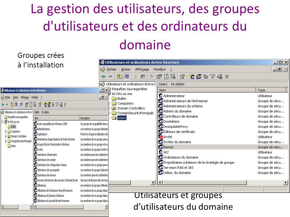La gestion des utilisateurs, des groupes d utilisateurs et des ordinateurs du domaine