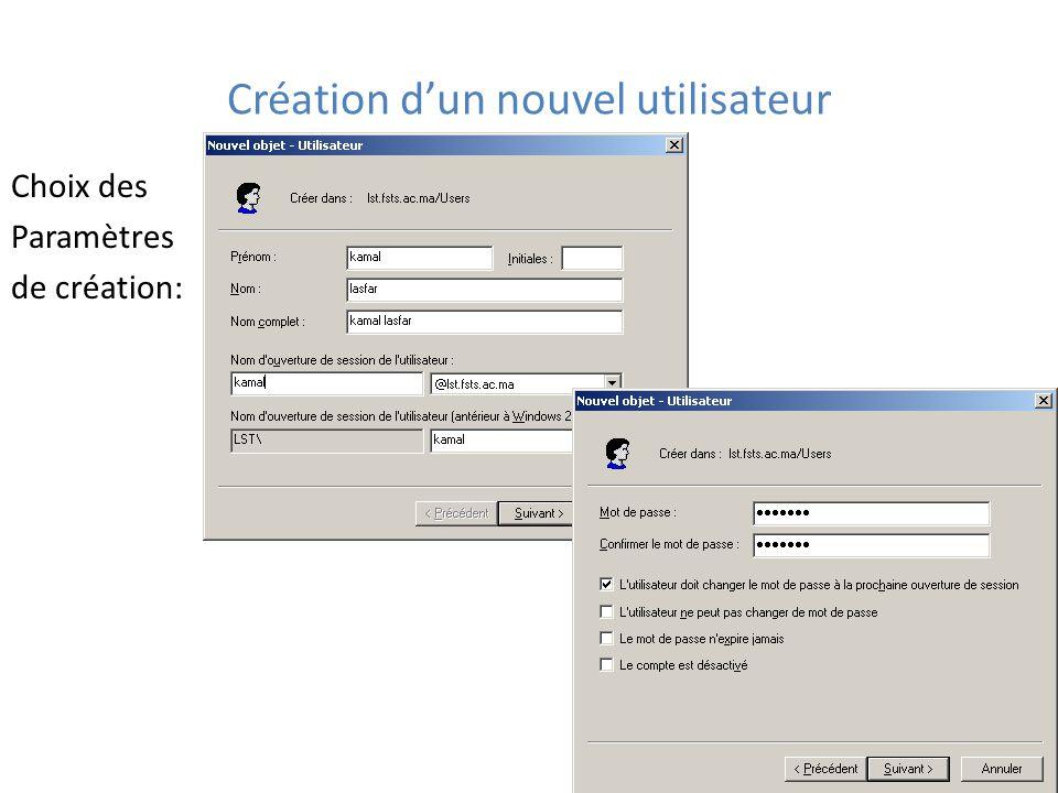 Création d'un nouvel utilisateur