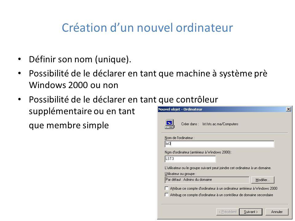 Création d'un nouvel ordinateur