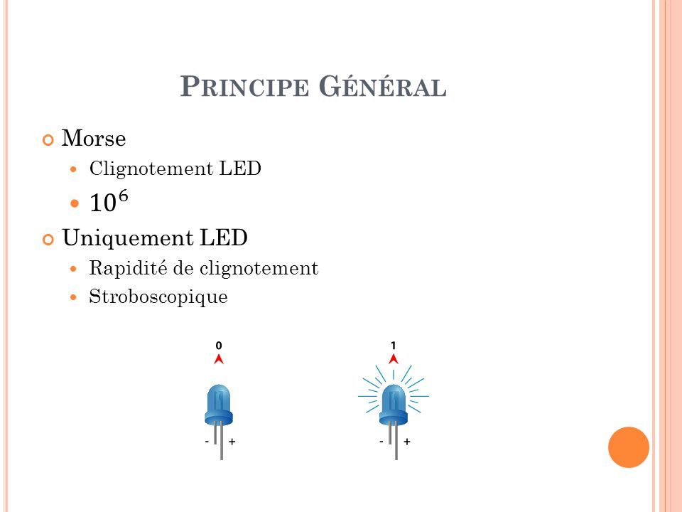 Principe Général 10 6 Morse Uniquement LED Clignotement LED