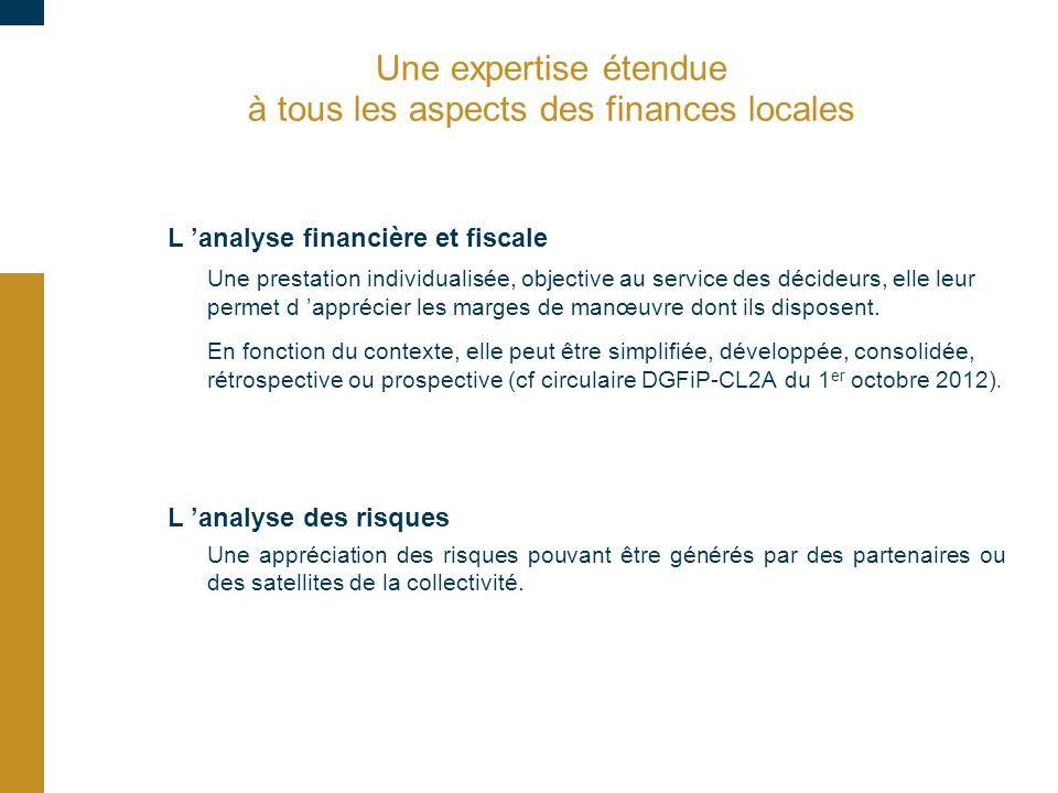 Une expertise étendue à tous les aspects des finances locales