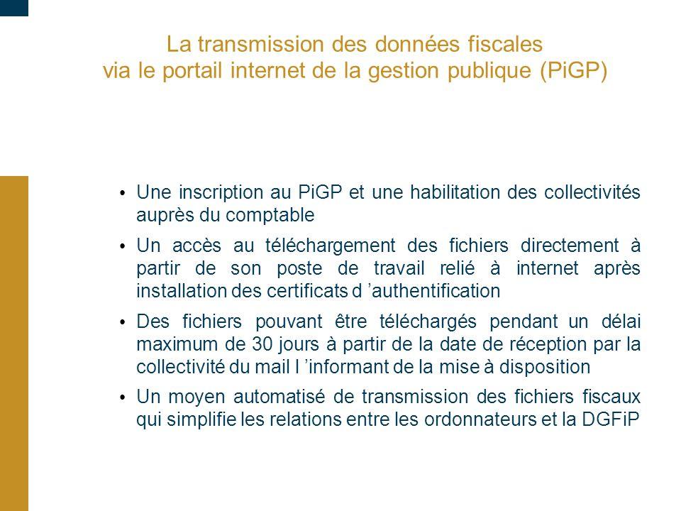 09/03/10 La transmission des données fiscales via le portail internet de la gestion publique (PiGP)
