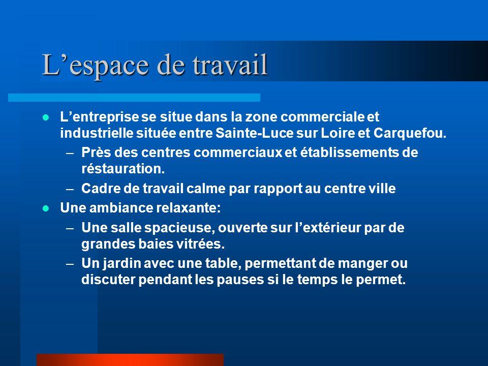 L'espace de travail L'entreprise se situe dans la zone commerciale et industrielle située entre Sainte-Luce sur Loire et Carquefou.