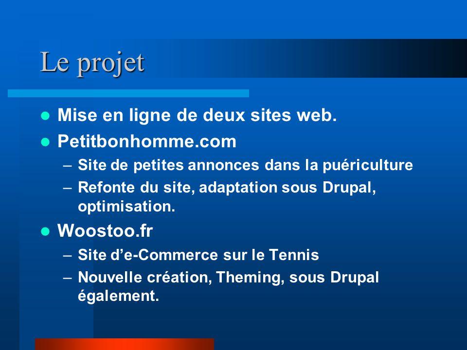 Le projet Mise en ligne de deux sites web. Petitbonhomme.com