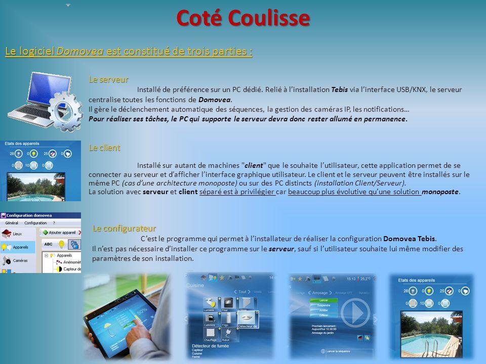 Coté Coulisse Le logiciel Domovea est constitué de trois parties :