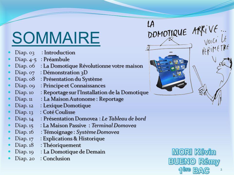 SOMMAIRE MORI Kévin BUENO Rémy 1ère BAC ELEEC Diap. 03 : Introduction