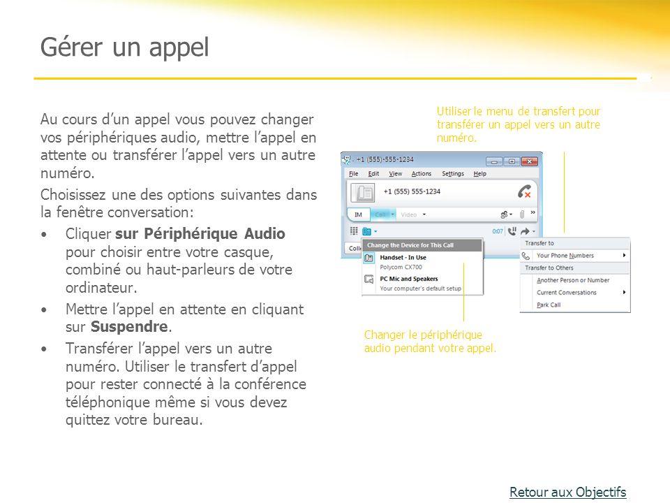 Gérer un appel Utiliser le menu de transfert pour transférer un appel vers un autre numéro.