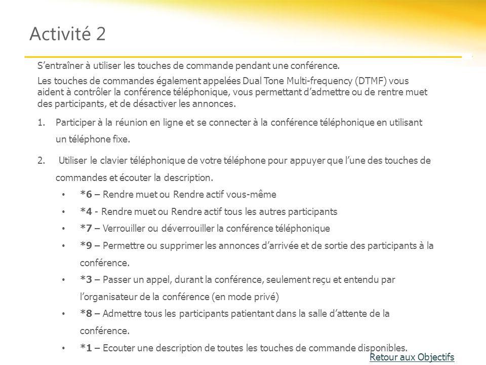 Activité 2 S'entraîner à utiliser les touches de commande pendant une conférence.