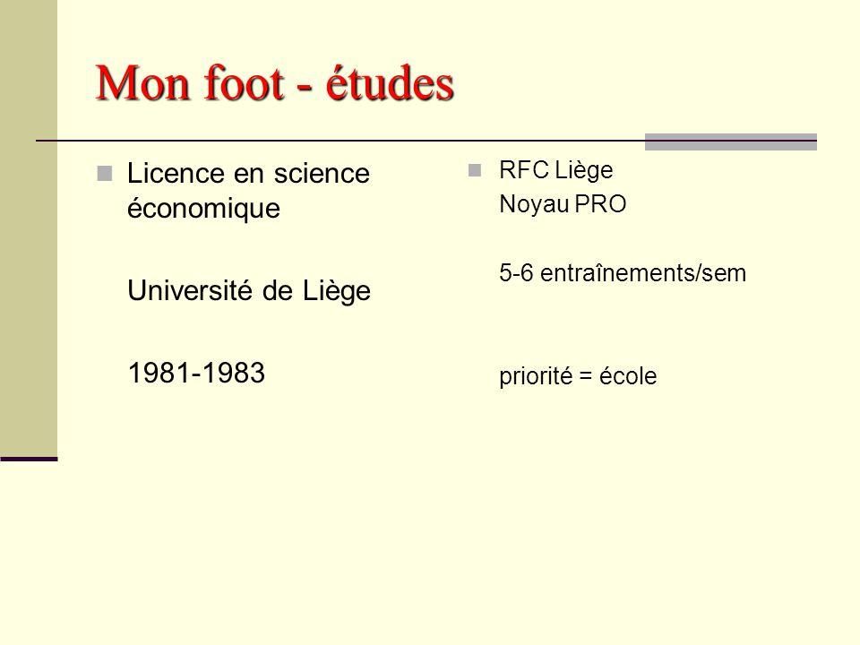 Mon foot - études Licence en science économique Université de Liège